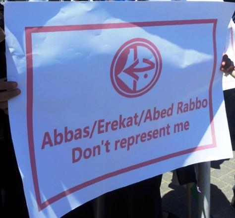 Mahmud Abbas (líder de Al Fatah, jefe comité ejecutivo de OLP), Erekat (jefe negociaciones de OLP) y Abed Rabbo (secretario comité ejecutivo de OLP). No me representan